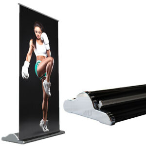 2 Pcs 33 5x80 repeatable Using Deluxe Retractable Roll Up Banner Aluminum Stand
