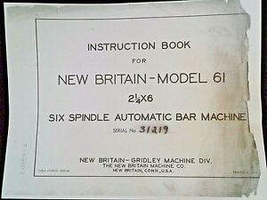 Instruction Book New Britain61 2 1 4 6spindle Automatic Bar Machine Manual Guide