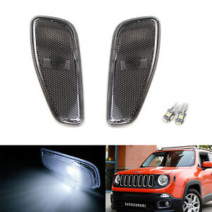 Smoked Lens Side Marker Lamps W White Led Replacement Bulbs For 2015 Up Renegade