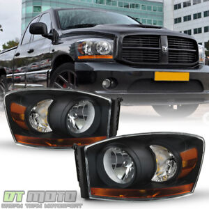 2006 2007 2008 Dodge Ram 1500 2500 3500 W black Bezel Headlights 06 08 Headlamps