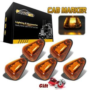 5pc Roof Running Cab Marker Amber Lights W 9 led In For 99 16 Ford W t10 Harness