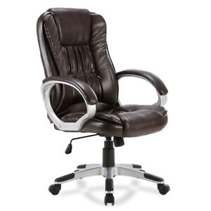 Executive Ergonomic Office Chair Pu Leather High Back Computer Desk Task mocha