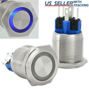 22mm Stainless Steel Momentary Push Button Switch With Blue Led