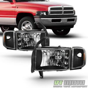 Black 1994 2001 Dodge Ram 1500 2500 3500 Headlights W Corner Lights Signal Lamps