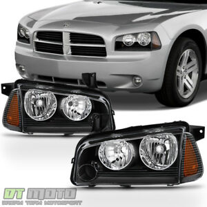 Black 2006 2010 Dodge Charger Headlights Headlamp W Corner Lights 06 07 08 09 10