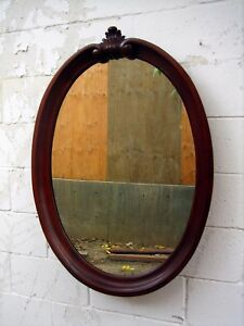 Mid Century Large Oval Wood Frame Wall Mirror Heavy Elegant Excellent