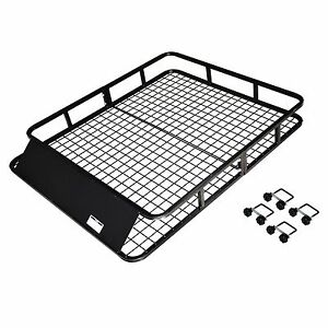 Max Load Steel Roof Rack Cargo Basket Baggage Carrier With Wind Faring