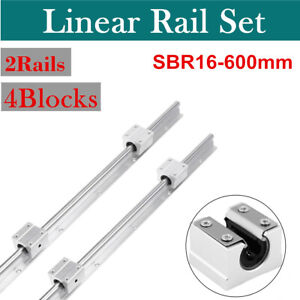 2 X Sbr16 600mm For Cnc 16mm Supported Linear Rail Shaft 4 Pcs Sbr16uu Blocks