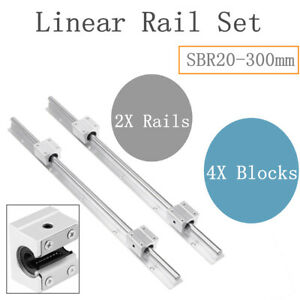 20mm 2set Sbr20 300mm Linear Slide Rail Shaft Sbr20uu 4pcs Bearing Block Cnc
