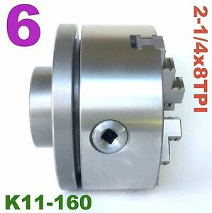 1 Pc Lathe Chuck 6 3jaw Self Centering W back Plate 2 1 4 8tpi K11 160 Sct 888