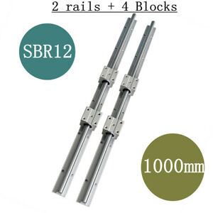 2set 12mm Sbr12 L1000mm Linear Rail Slide Guide Shaft With 4pcs Sbr12uu Us Stock