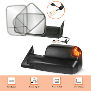 Power Heated Led Signal Lights Lh Rh Towing Mirrors For 1998 2002 Dodge Ram