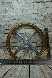 Antique Wood Steering Wheel Aluminum Spider Model T Brass Era Merkel