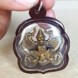 Phaya Krut Stop Nak Thai Amulet Brass Magic Luck Protect Wealth Pendant Case
