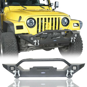 Rock Crawler Front Bumper W Led Lights D Rings For Jeep Wrangler Tj 1997 2006
