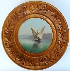 C 1890 Rare Swiss Black Forest Brienz Painted Carved Tray Lake Geneva Motive