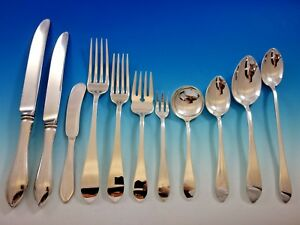 Pointed Antique By R B D H Sterling Silver Flatware Set Service 135 Pcs Dinner