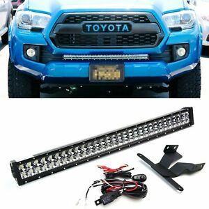 180w 30 Led Light Bar W Lower Bumper Bracket Wiring For 16 up Toyota Tacoma