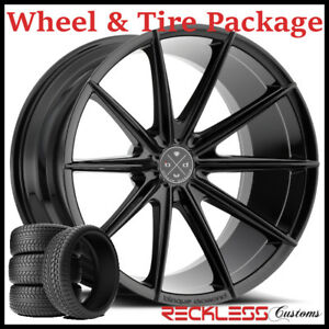 22 Blaque Diamond Bd11 Concave Black Wheels And Tires Fits Dodge Charger