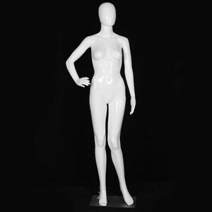 Female Mannequin Full Body Dress Form Display Plastic Egg Head High Gloss White