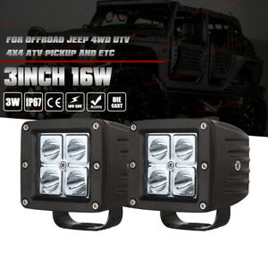 3x3 18w Cree Led Work Light Square Flood Suv Ute Cube Ford Offroad Pod 4wd X2