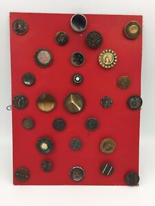 Estate Button Card W 27 Vintage Victorian Metal Mounted Celluloid Fancy Buttons