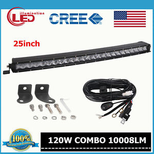 Slim Single Row 25 120w Curved Cree Led Light Bar Jeep Truck Ford Wiring Kit