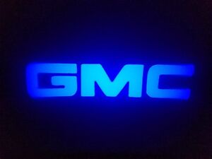 2pc Blue Gmc 5w Led Emblem Door Projector Ghost Shadow Puddle Logo Light