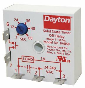 Dayton Encapsulated Timer Relay Function Off Delay Status Indicator None 1a