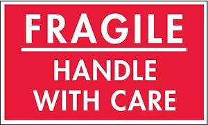 Shipping Labels Fragile Handle With Care Legend Paper Adhesive Back 5