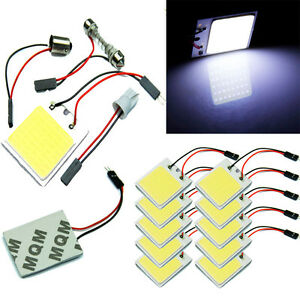 48 Smd Cob Led T10 4w 12v Light Car Interior Panel Lights Dome Lamp Bulb Part Lj