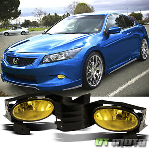 For 2008 2010 Honda Accord Coupe Yellow Bumper Fog Lights Lamp Switch Left Right