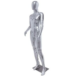 Male Plastic Glossy Full Body Mannequin Dress Form Display W Steel Base Silver