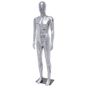 Male Egg Head Glossy Plastic Full Body Mannequin Dress Form Display W steel Base