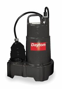 Dayton 1 3 Hp Submersible Sump Pump Diaphragm Switch Type Cast Iron Base