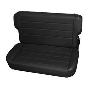 Smittybilt 41315 Seat Rear Fold Tumble Black Denim For 1986 Jeep Cj