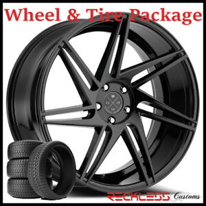 22 Blaque Diamond Bd1 Concave Black Wheels And Tires Fits Dodge Charger