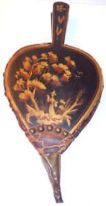 Antique Handpainted Wood Leather Fireplace Hearth Bellows Chinoiserie Usa