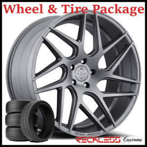 22 Blaque Diamond Bd3 Concave Graphite Wheels And Tires Fits Ford Edge