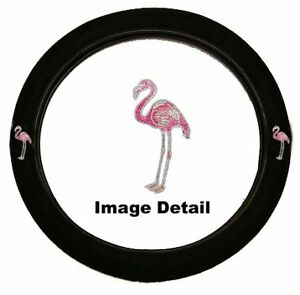 Pink Flamingo Birds Crystal Studded Rhinestone Steering Wheel Cover