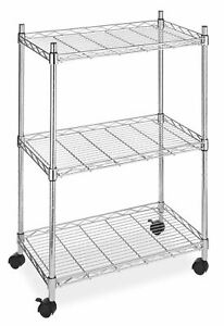 3 Tier Wire Metal Rolling Utility Cart Shelf Storage Kitchen Trolley Portable