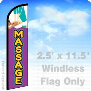 Massage Windless Swooper Feather Flag 2 5x11 5 Manicure Salon Banner Sign Pf