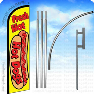 Fresh Hot Dogs Windless Swooper Flag 15 Kit Feather Banner Sign Yf