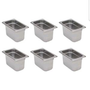 6 pack 1 9 Size Stainless Steel Silver Steam Table Hotel Pans 4 Deep