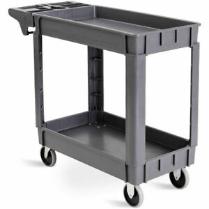 39 X 17 X 33 plastic Utility Service Cart 550 Lbs Capacity 2 Shelves Rolling