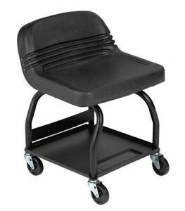 Black Padded Shop Seat Garage High Back Stool Work Chair Mechanic Tool Tray