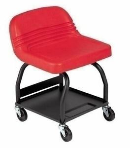 Red Padded Shop Seat Garage Hi Back Stool Work Chair Mechanic Tool Storage Tray