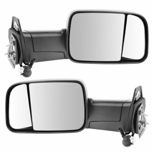 Tow Mirror Power Heated Textured Black 4th Gen Style Pair Set For Ram Pickup New