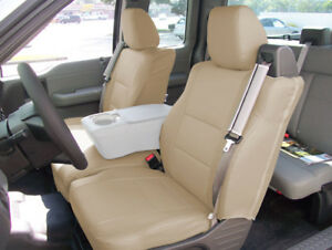 Ford F 150 04 08 S leather Front Custom Fit Seat Cover Built In Seat Belt Beige
