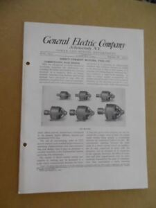 1913 General Electric Direct Current Cvc Motor Catalog Antique Squirrel Cage Ge